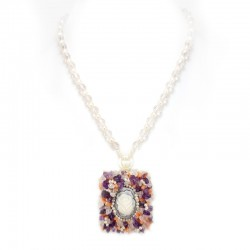 Pearl necklace, beads pink quartz, amethyst and cameo stone sardonyx