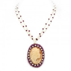 Beaded necklace, garnet and cameo