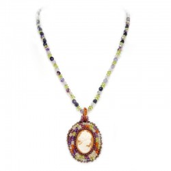 Necklace of agate, purple, peridot and cameo