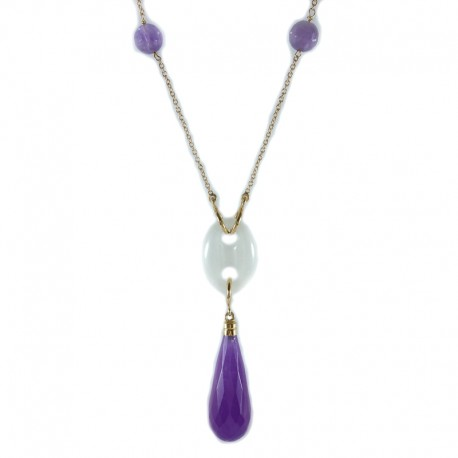 Yellow gold necklace, quartz and amethyst