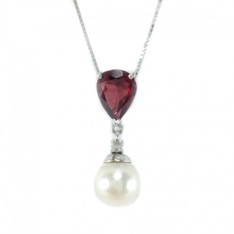 Necklace and pendant in white gold, pearl, salt water, garnet and diamond