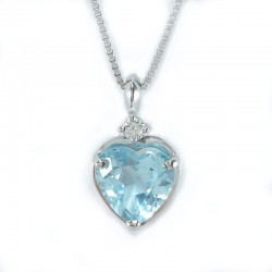 White gold necklace, pendant with blue topaz and diamond
