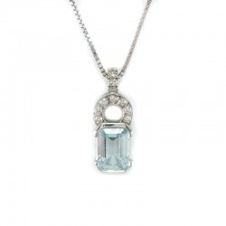 Necklace in white gold, aquamarine and diamonds