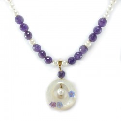 Necklace of fresh water pearls and beads of amethyst, pendant with mother-of-pearl flowers, amethyst, and chalcedony
