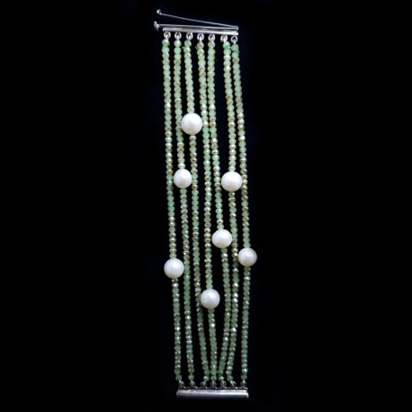 Bracelet cuff in sterling silver, hematite, green multi-strand, and pearls