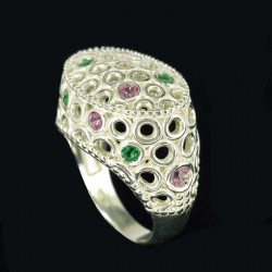 Ring in sterling silver, spinels and green quartz pink synthetic