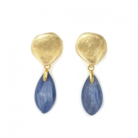 Pendant earrings in gold-plated silver with pendant in kyanite blue