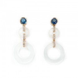 Earrings in rose gold, topaz blue london, rock crystal and brilliant cut diamonds