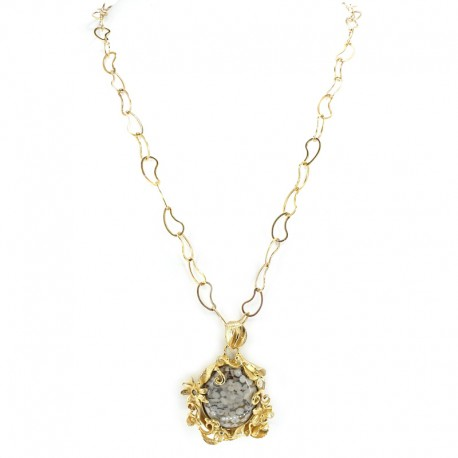 Necklace and pendant in gold-plated silver, lost wax processing, quartz and brown diamonds