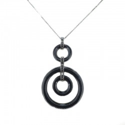 Necklace with chain and pendant in white gold plating bath black onyx and diamonds