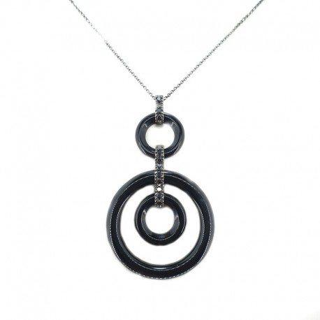 Necklace with chain and pendant in white gold plating bath black onyx and black diamonds