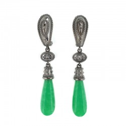 Silver earrings, machining etruscan in galvanic black with pendant set with jade