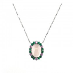Necklace and central in silver in black galvanic bath, rose quartz, cabochon and synthetic green spinels.