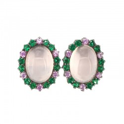 Silver earrings in black galvanic bath, rose quartz, cabochon and synthetic green spinels