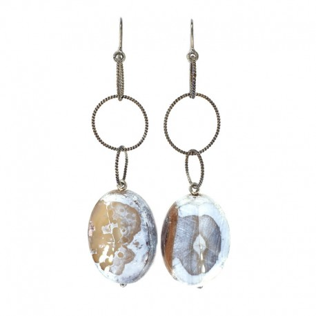 Earrings in burnished silver and jasper