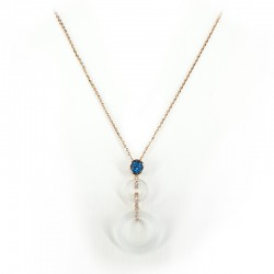 Necklace and pendant in pink gold, london blue topaz, rock crystal and brilliant cut diamonds