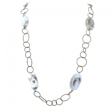 Necklace in burnished silver and jasper