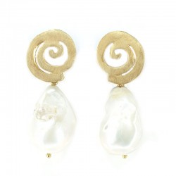 Earrings in silver gilt with pearls scaramazze