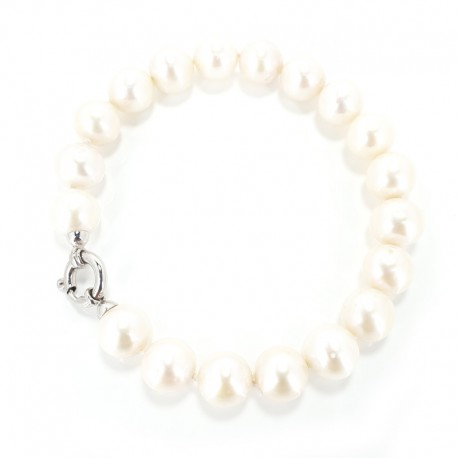 Bracelet pearls fresh water and closing in white gold
