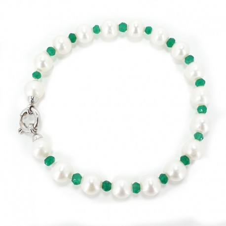 Bracelet pearls fresh water, green agate and closing in white gold