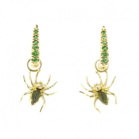 Earrings in yellow gold and tsavorites with pendants in the spider with tourmalines and green brilliant cut diamonds