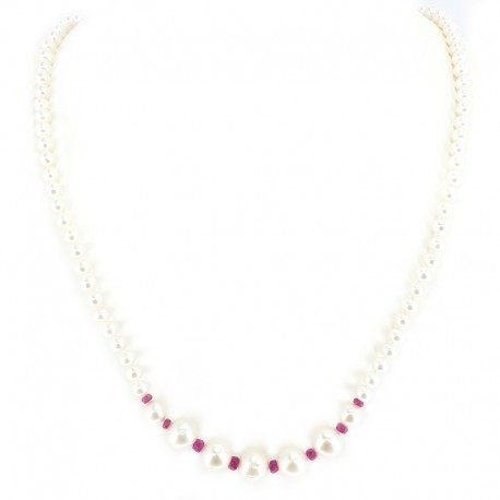 Necklace of freshwater pearls and beads red multi-faceted synthesis