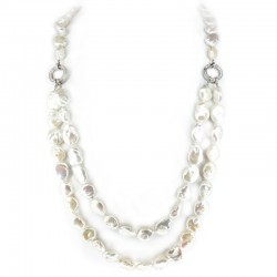 Multi-worn necklace of scaramazza pearls with silver and zircon clasps