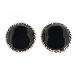 Silver earrings and black onyx cabochon