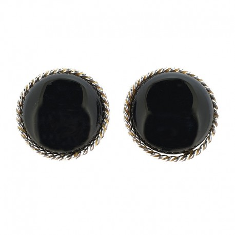 Earrings in silver and cabochon black onyx