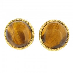 Earrings in gilded silver and tiger's eye cabochons