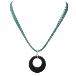 Necklace with interchangeable pendant in black onyx and mother of pearl with green agate flower