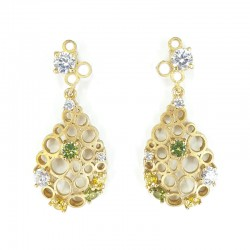 Gold silver earrings, white and colored zircons