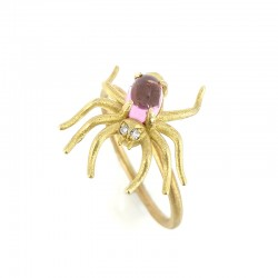 Yellow gold spider ring with tourmaline and diamonds