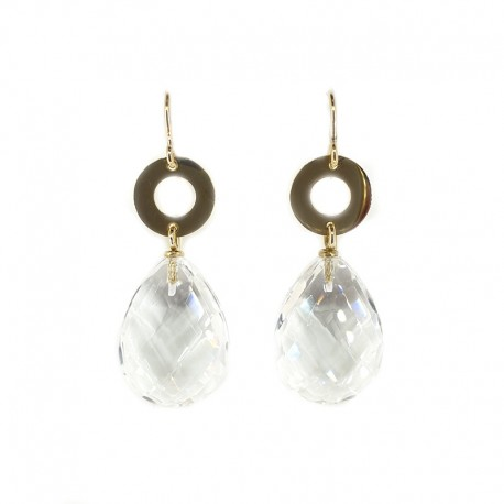 Dangling earrings in yellow gold and rock crystal drops