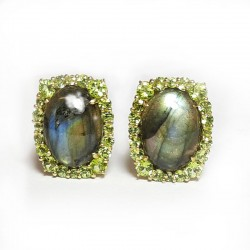 Silver, Labradorite, Peridot Earrings