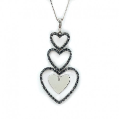Pendant, hearts, white gold and cubic zirconia blacks