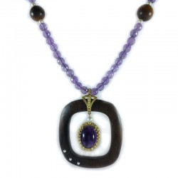 Necklace of spheres, amethyst, tiger's eye and fresh water pearls with pendant
