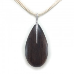 Pendant in ebony, white gold and diamonds with a snare, multi-strand