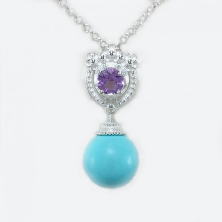 Sterling silver necklace with pendant of amethyst and sphere in turquoise