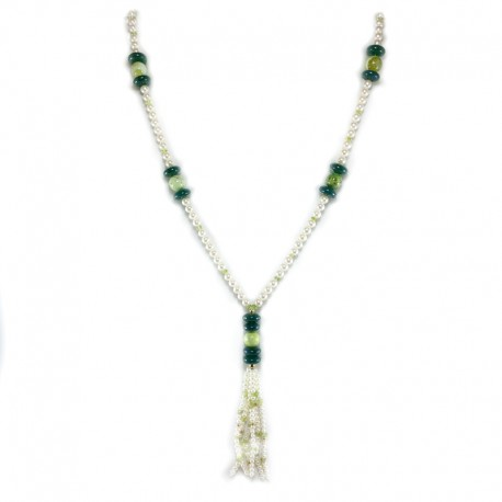 Necklace of fresh water pearls, green agate, peridot, and spheres in yellow gold