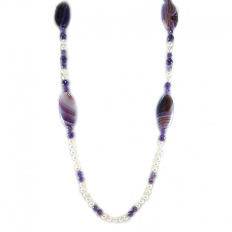 Necklace of fresh water pearls, agate, purple, and beads of amethyst