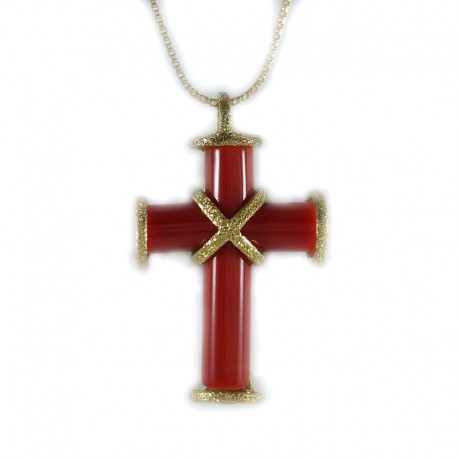 Cross pendant red coral and gold necklace, yellow gold