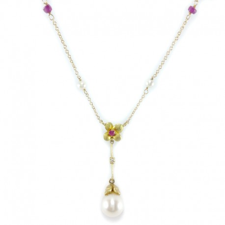 Necklace and pendant in yellow gold, fresh water pearls, rubies and diamond