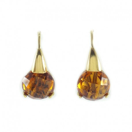 Earrings in yellow gold and stones hydrothermal briolè amber