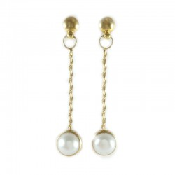 Earrings in yellow gold and pearls mabè