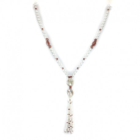 Necklace of fresh water pearls, golden stone and mother-of-pearl