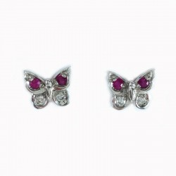 Earrings butterfly white gold, rubies and diamonds