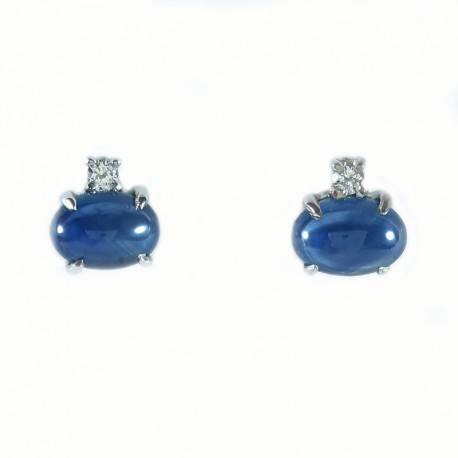 Earrings in white gold, sapphires and diamonds