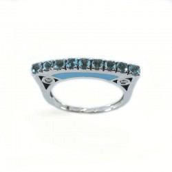 Ring in white gold and enamel with aquamarine and diamonds