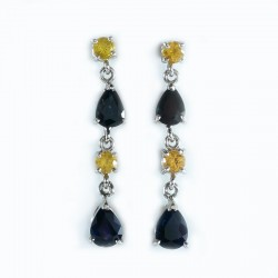 Earrings in white gold, yellow sapphires, and blue
